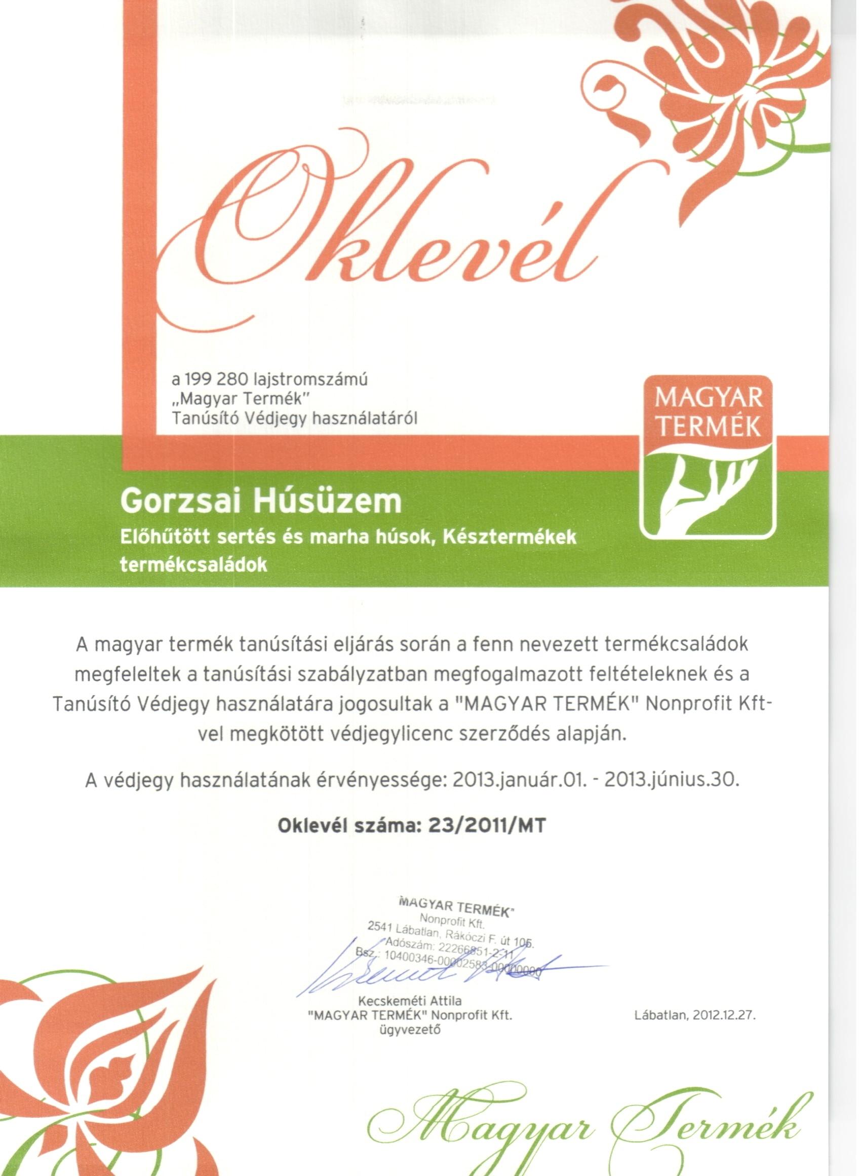 Magyar Termék Védjegy 2013.év